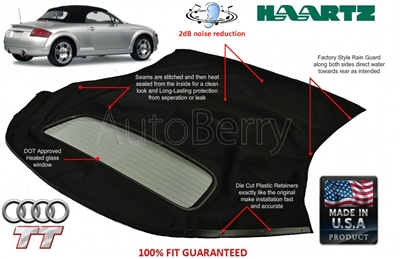 Audi Tt Convertible Top With Defroster Gl Window 2000 2006 Autoberry Brand Lifetime